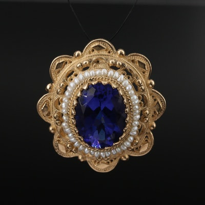 14K Glass and Pearl Pendant