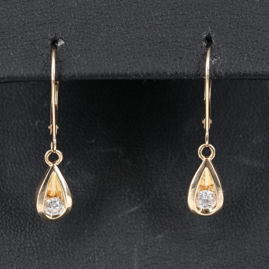14K Diamond Solitaire Teardrop Dangle Earrings