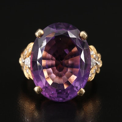 14K 16.50 CT Amethyst and Diamond Ring