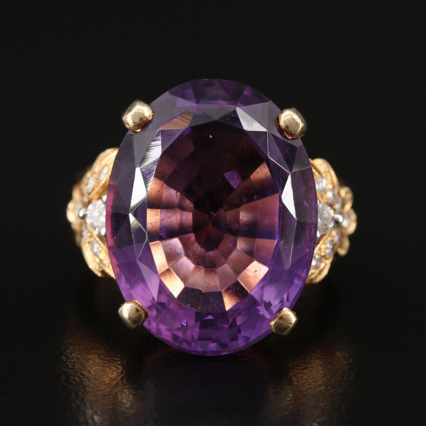 14K 16.50 CT Amethyst and Diamond Ring