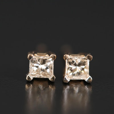 14K Princess Cut Diamond Stud Earrings