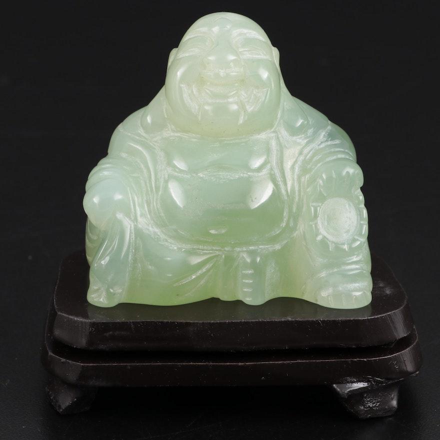 Chinese Carved Serpentine Budai (Laughing Buddha) Figurine