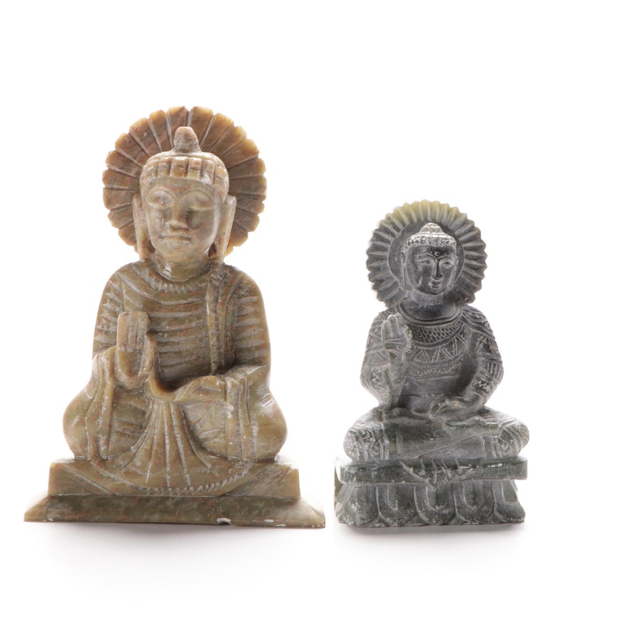 East Asian Carved Serpentine Abhaya Buddhas