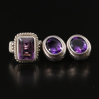 Sterling Silver Amethyst Ring and Earrings with 18K Accents