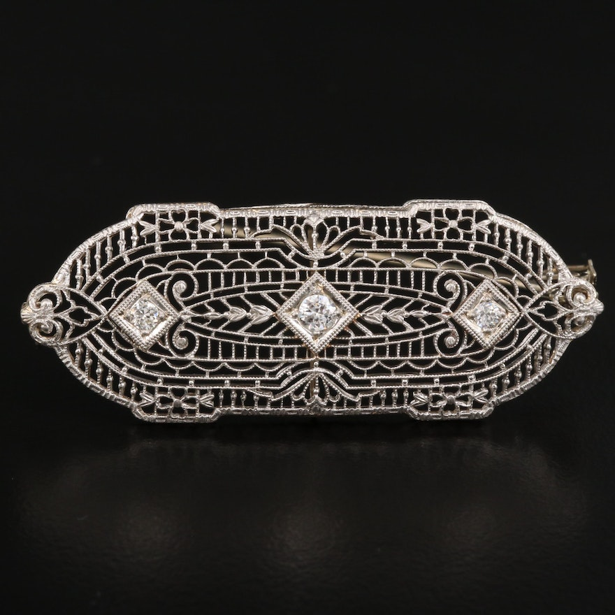 Late Edwardian 14K Diamond Openwork Converter Brooch with Platinum Top