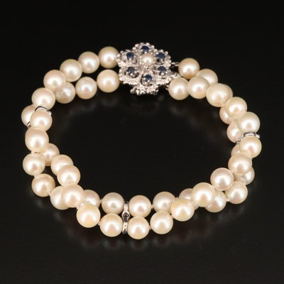 Vintage 14K Pearl and Sapphire Double Strand Bracelet