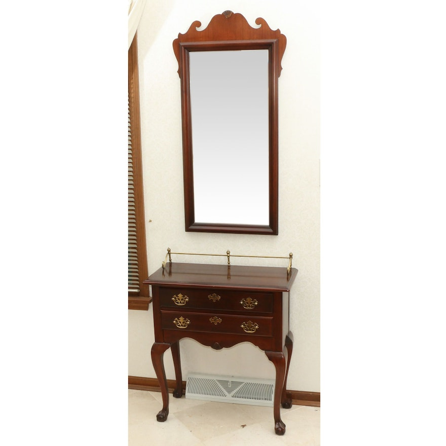 Meier Furniture Chippendale Style Hall Table and Mirror