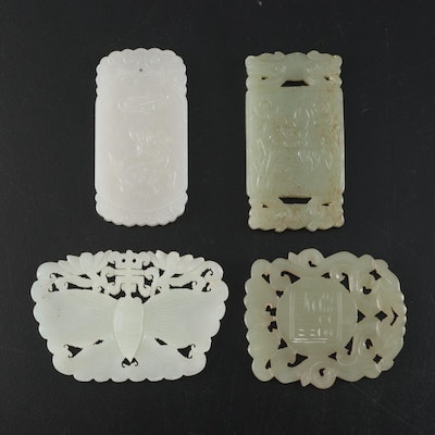 Chinese Carved Serpentine Tablet Pendants