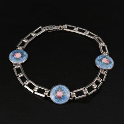 Vintage Sterling Basse-Taille Floral Bracelet