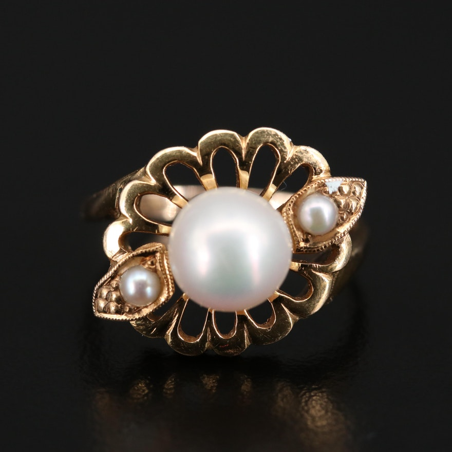 14K Floral Pearl Ring
