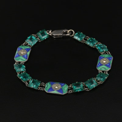 Art Deco Glass and Enamel Link Bracelet with Sterling Silver Clasp