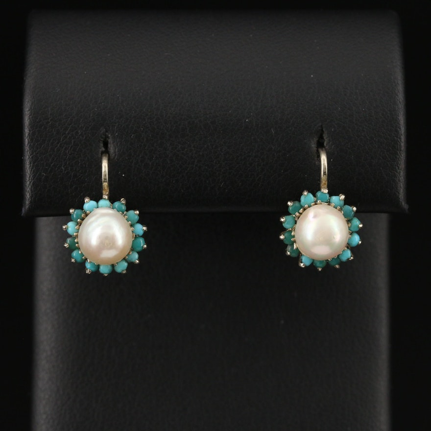 18K Pearl and Turquoise Drop Earrings