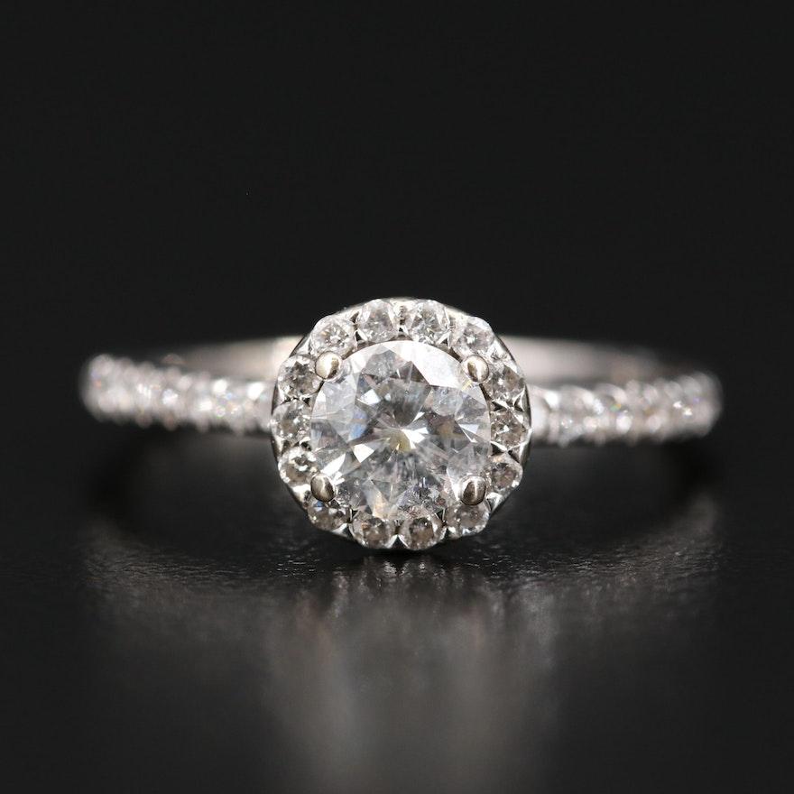 14K Round Halo Diamond Ring