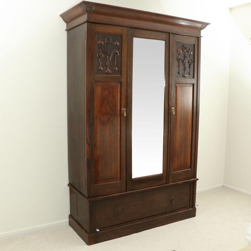 Art Nouveau Oak Knock Down Wardrobe, Late 19th/ Early 20th Century