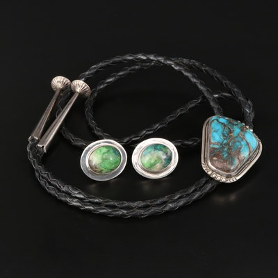 Southwestern Style Sterling Bolo Tie and Mexican Sterling Chrysocolla Earrings