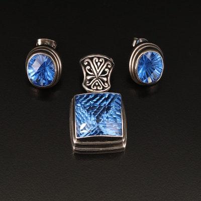 Sterling Mystic Quartz Pendant and Earring Set