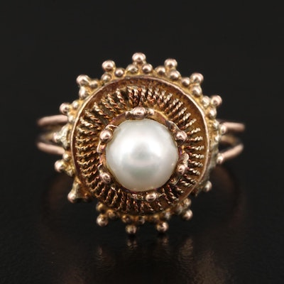 Vintage 10K Pearl Tiered Filigree Ring