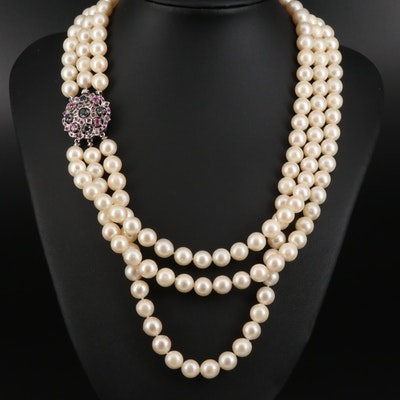 Multi Strand Pearl Necklace with 10K Sapphire Clasp
