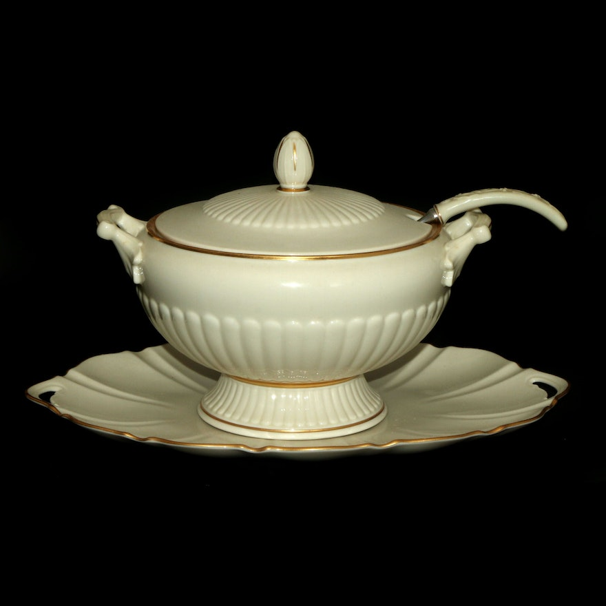 """Lenox """"Georgian"""" Porcelain Soup Tureen with Ladle and Tray"""