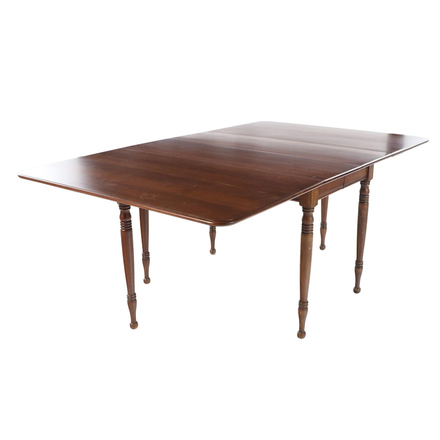 American Primitive Cherrywood Drop-Leaf Dining Table, Mid to Late 20th Century