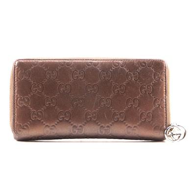 Gucci Guccissima Zip-Around Wallet with Interlocking GG Zipper Pull