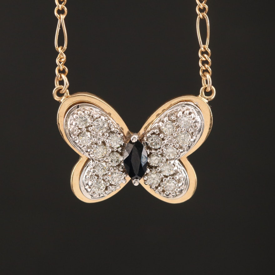 14K Sapphire and Diamond Butterfly Necklace