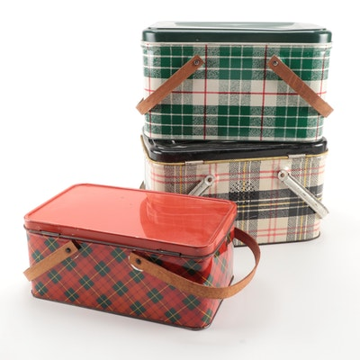 NC Colorware and Other Plaid Tin Picnic Baskets, Mid-20th Century