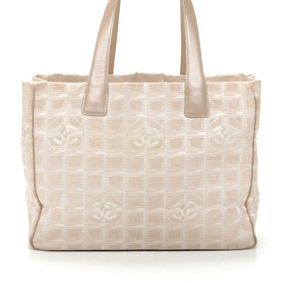 Chanel Travel Line Tote in Beige CC Nylon Jacquard and Leather