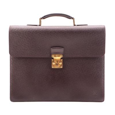 Louis Vuitton Serviette Conseiller Briefcase Bag in Dark Brown Taiga Leather
