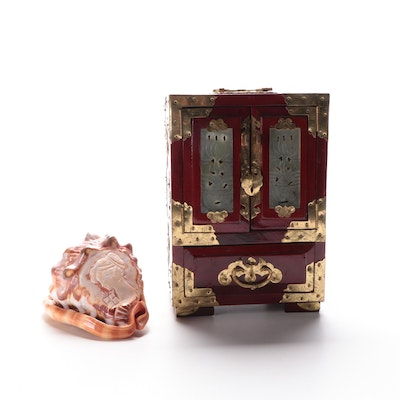 Italian Hand-Carved Cameo on Conch,  Lacquered Wood and Serpentine Jewelry Box