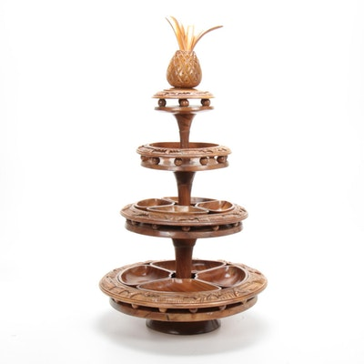 Hand Carved Monkey Pod Wood Three Tier Lazy Susan with Pineapple Finial