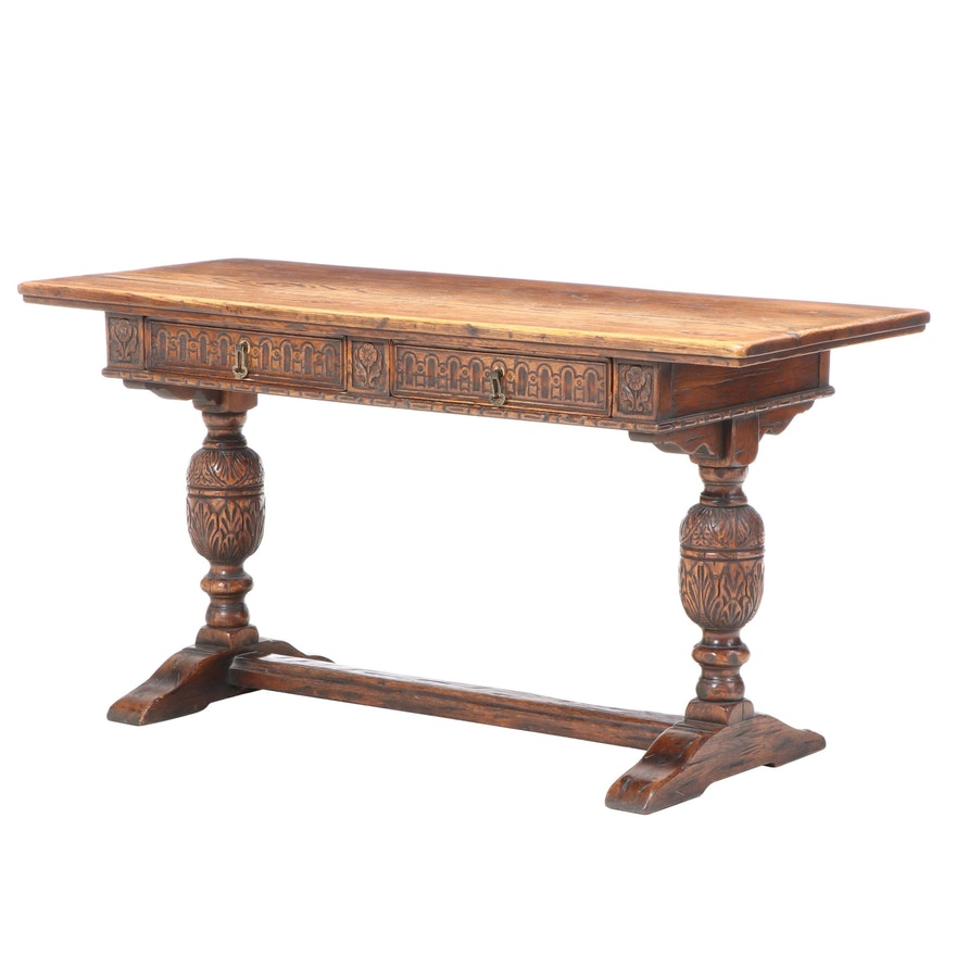 Robert W. Irwin Co. Jacobean Style Oak Console Table, Early to Mid 20th Century