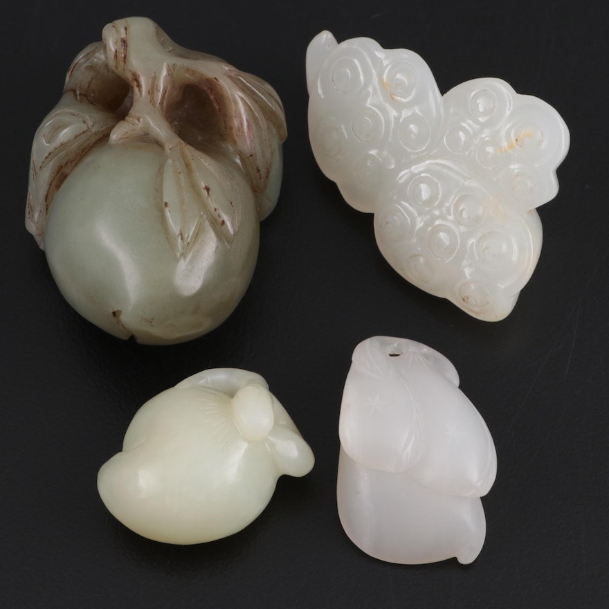 Chinese Carved Serpentine Fruit Figurines and Pendants