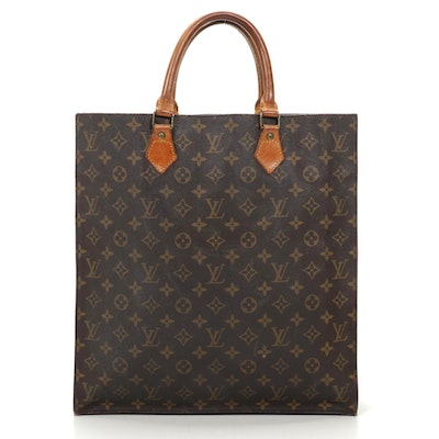 Louis Vuitton Sac Plat in Monogram Canvas and Vachetta Leather