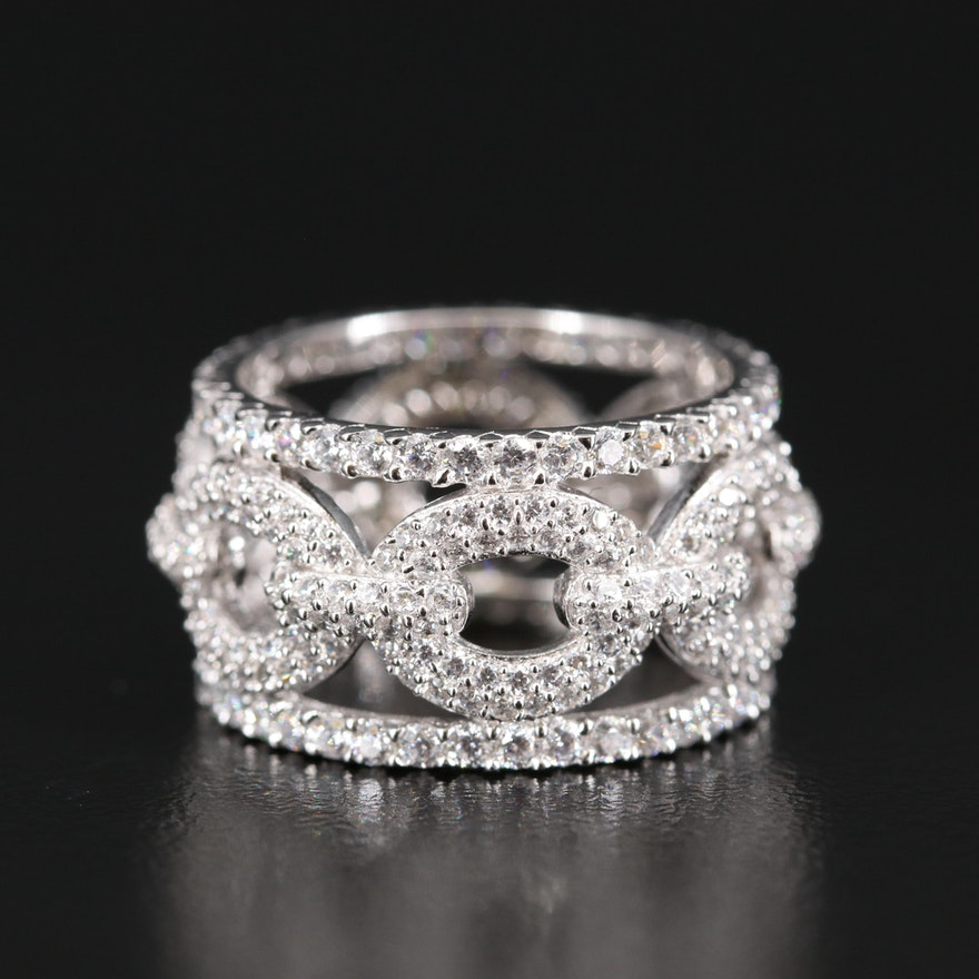 Sterling Silver Cubic Zirconia Link Style Ring