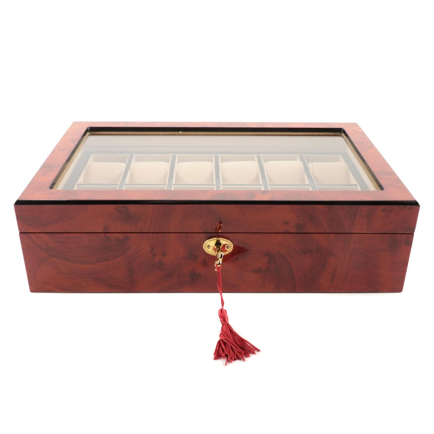 High Gloss Burl Wood Finish Watch Case with Display Window