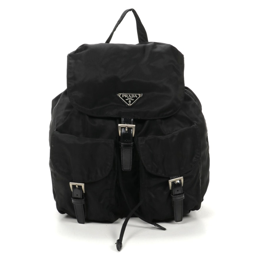 Prada Backpack Purse in Black Tessuto Nylon and Leather