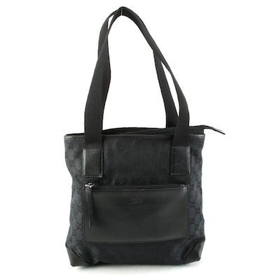 Gucci Black GG Canvas Tote with Leather Trim