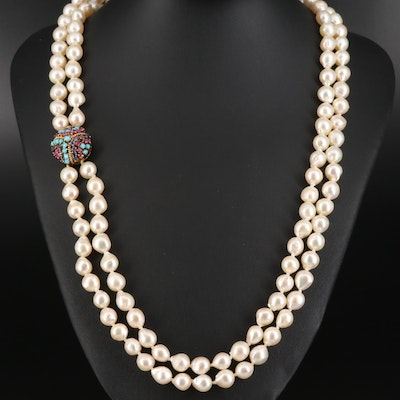 Double Strand Pearl Necklace with Ruby, Sapphire and Turquoise 10K Clasp