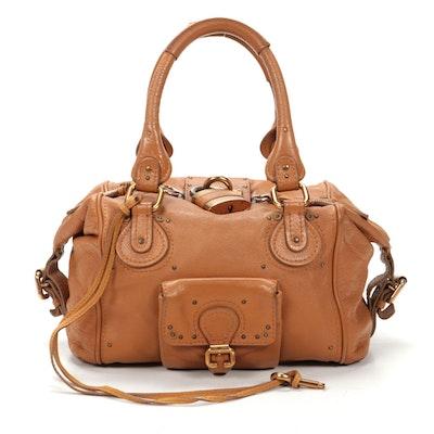 Chloé Paddington Satchel in Tan Grained Leather