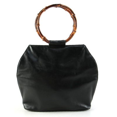 Gucci Black Leather Bamboo Ring Top Handle Tote