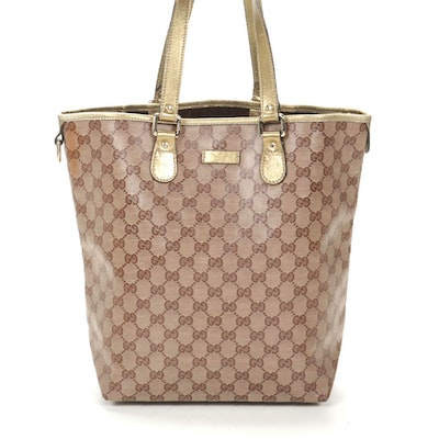 Gucci Tote in GG Crystal Canvas and Metallic Gold Leather