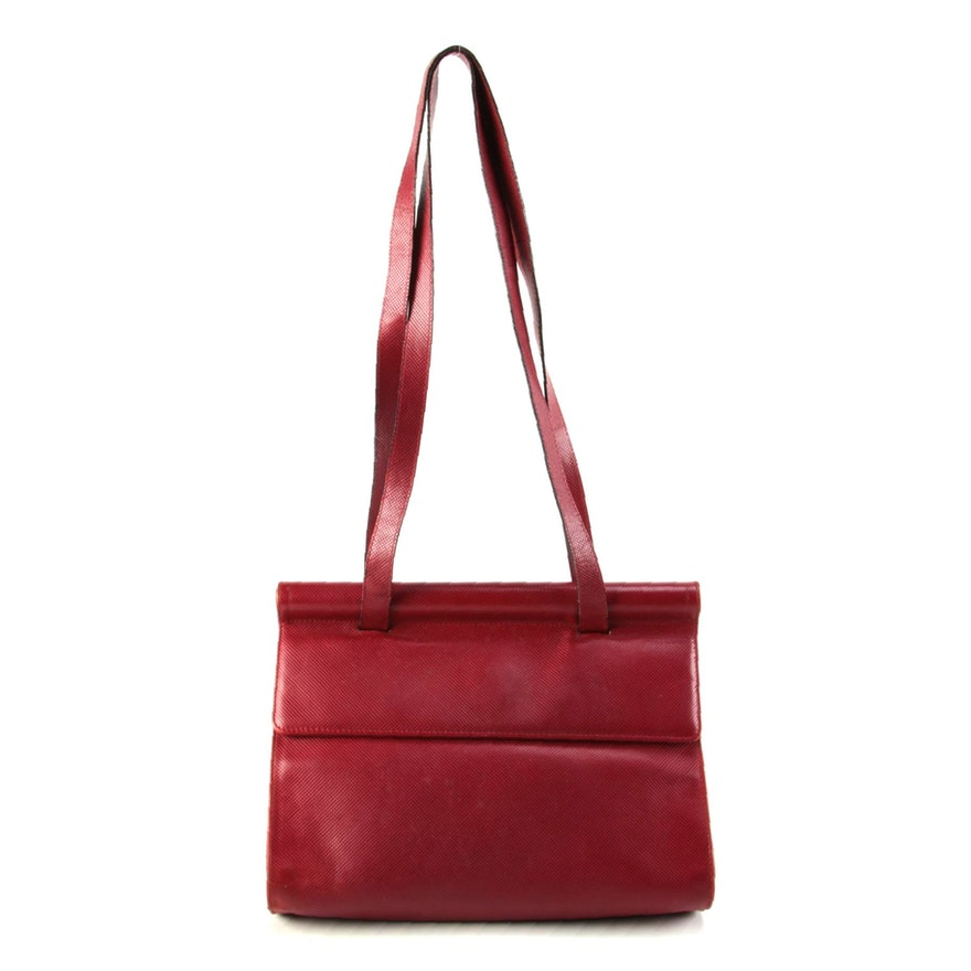 Modified Bottega Veneta Red Lizard Skin Flap Front Bag, Late 20th Century