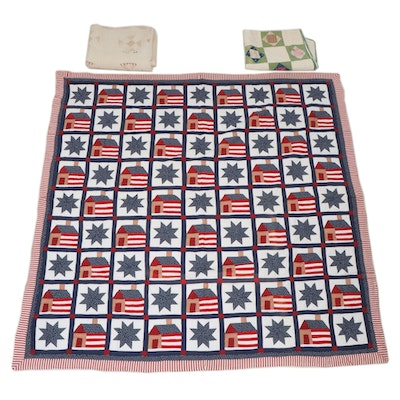 """Handcrafted """"Wheel of Time"""", """"Economy Patch"""", and American Flag Pieced Quilts"""