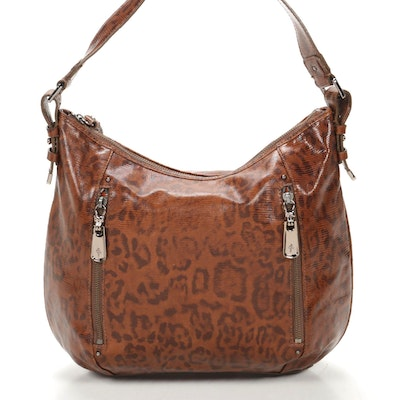 Cole Haan Hobo Shoulder Bag in Lizard Embossed Leopard Print Leather