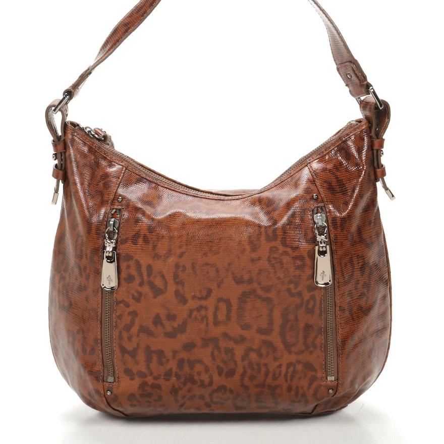 Cole Haan Hobo Shoulder Bag in Lizard Embossed Leopard Print Leather
