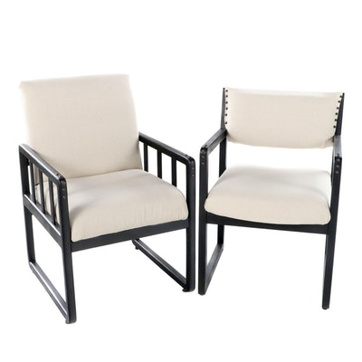 Two Modernist Ebonized Armchairs, Including Artisan Seating International