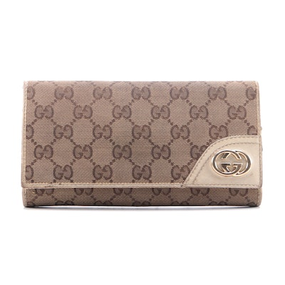 Gucci New Britt Continental Wallet in GG Canvas and Leather