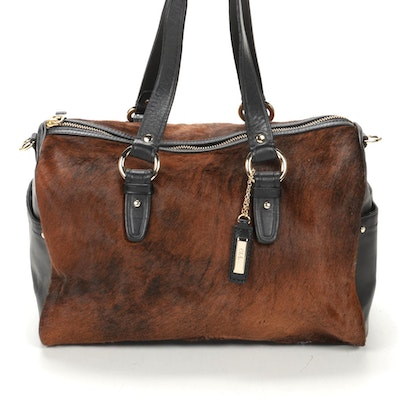 Cole Haan Jade Boston Bag in Chestnut Ombré Calf Hair and Black Leather