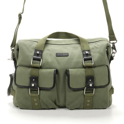 Bodhi Two-Way East West Tote in Green Canvas with Leather Trim